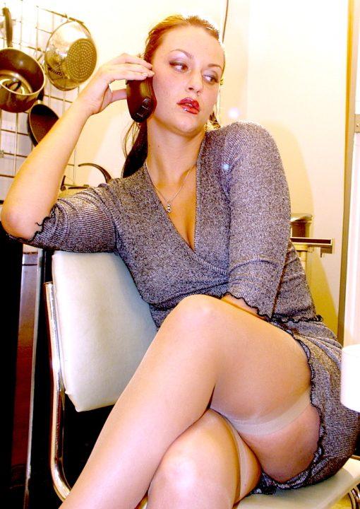 Upskirt Peek At Isadora Edison Stockings